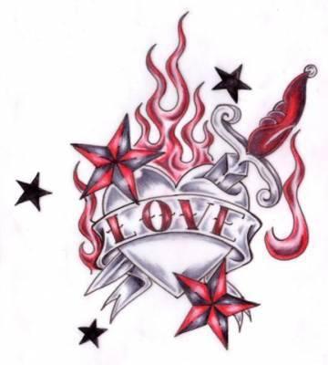 Coeur d 39 amoure moi najlae for Love n hate tattoo